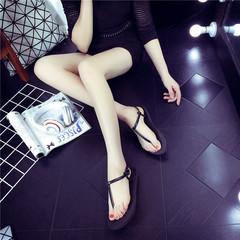 Summer women's sandals fashion wild Roman women's sandals flat bottom pinch beach slippers black 35