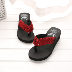 2018 summer sequins slippers wedges flip flops women's home slippers black 38