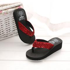 2018 summer sequins slippers wedges flip flops women's home slippers red 37