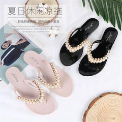 Summer outdoor beach sandals and slippers fashion casual women's slippers non-slip flat flip flops black 36