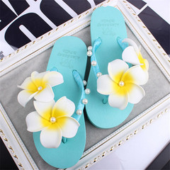 New Summer Women's Beach Handmade Super Fairy Frangipani Pearl Toe Flip Flops Flat Slippers lake blue 40