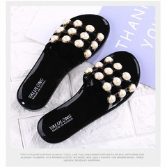 Slippers women's summer pearl slippers flat and hollow wear-resistant non-slip fashion slippers black 35