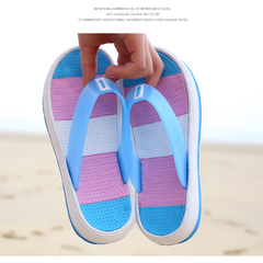 Couple flip flops women pin cuffs loose cake thick bottom rainbow sandals wedges beach slippers lake blue 36