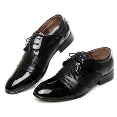 Men's leather shoes large size business dress shoes men's shoes breathable summer office shoes men black 43 leather