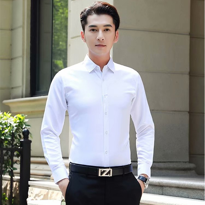 Fashion Youth Slim Men's Shirt New Men's Long Sleeve Shirt Solid Color Easy-care Non-ironing Shirt white 3xl