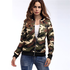 2018 spring new camouflage jacket top European and American style fashion comfortable jacket female xxl Camouflage grey