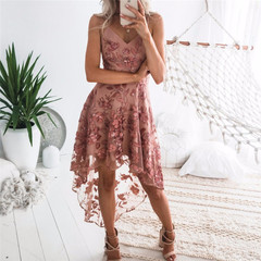 New sexy sling irregular lace stitching dress bandage dress women fashion xl Leather Pink