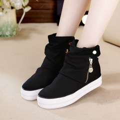 Kztown Women Flatform Shoes Ankle Boots Tall Women Height Increase Shoes Fashion Sneaker black 35