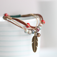 Be Yourself Women Charm Ceramics  Bracelet Lucky Fashion Bracelet Handmade Jewellery Gift For Her as picture 17.5cm