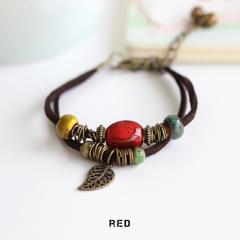 Be Yourself Women Charm Ceramics Bracelet Lucky Leather Bracelet Handmade Jewellery Gift For Her red 15cm~19cm