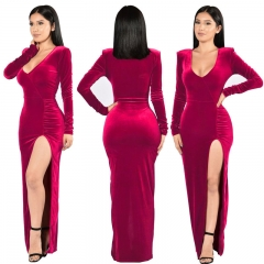 Popular 2-Tone Silky Flannel High Side Furcal DesignM-2XL  Long Sleeves Wedding Party Evening Dress m fuschia