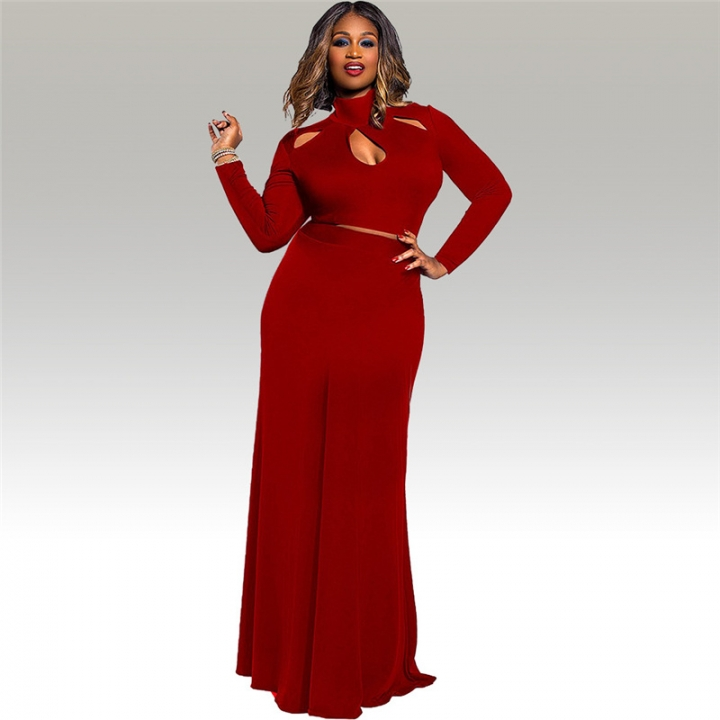 cf686dd9f8 Best Selling Plus Size Dress L-3XL Sexy Heap Collar Solid Color 2Pcs Long  Sleeves Top+Long Skirt xl red