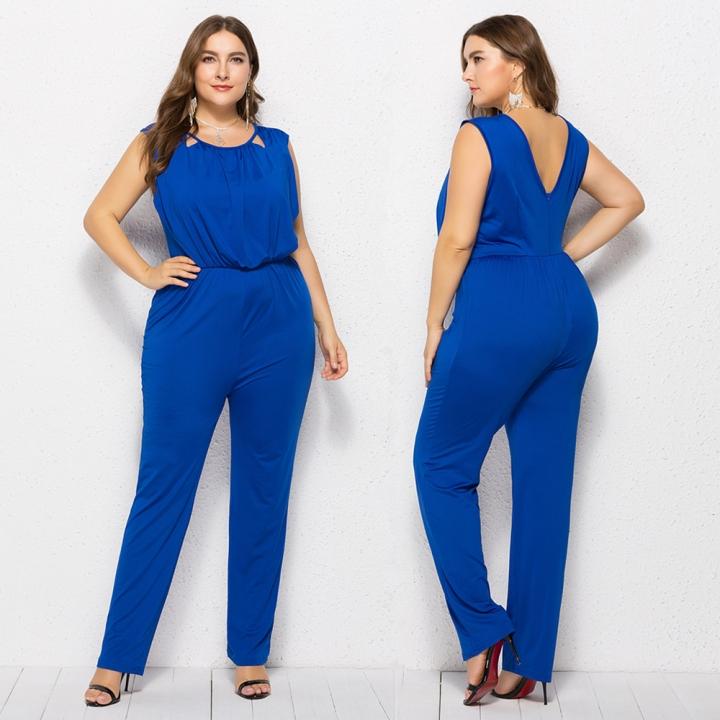 2018 New Plus Size Jumpsuit Xl 5xl Stretchy Quality Sleeveless One