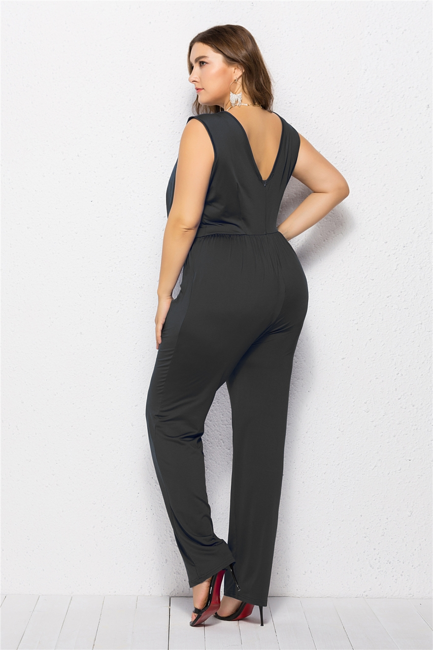 purchase newest professional website sale usa online 2018 New Plus Size Jumpsuit XL-5XL Stretchy Quality Sleeveless One-piece  Women's Clothings royal blue xl