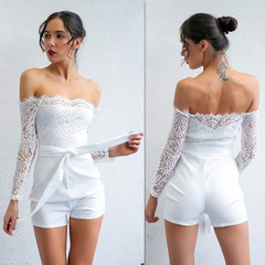 Hot Sale European Style Off-shoulder Jumpsuits S-XL White Lace Milky Silk Joint Women's Clothing white l