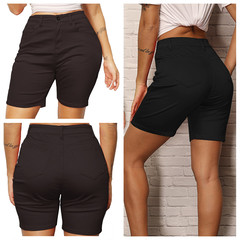 2018 Summer Practical Solid Lady Short Pants Size S-XXL Soft Stretchy Straight-leg Shorts black s