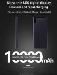 12000 MA powerbank ultra-thin led digital display metal shell 2.1A FAST CHARGE GOLD 8000