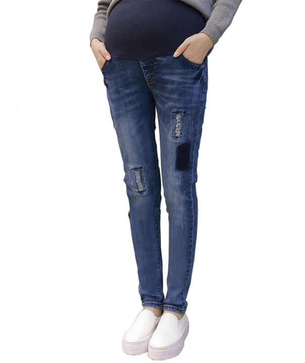 b727cab19 Elastic Waist Hole Stretch Denim Maternity Belly Jeans for Pregnant Women  Pregnancy Pencil Trousers Blue L