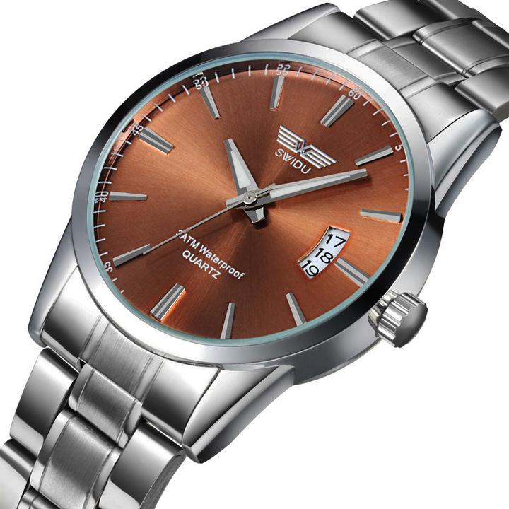 New Business Casual Steel Belt Watch Waterproof Calendar Time Watch Gift Coffee Men