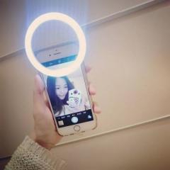 Damai 1pc Universal Luxury Smart Phone LED Flash Light Up Selfie Luminous Phone Ring For iPhone white 1