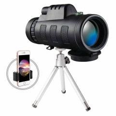 Damai 40x60 HD Mini Monocular Telescope With Tripod Cell Phone Holder,Compass and Low Light Night black