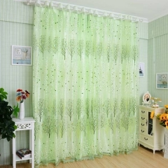 Damai 200*100cm Green Tree Tulle Door Window Curtains Room Curtain Sheer Panel Drapes for bedroom green 1