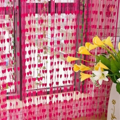 Damai Silk String Curtain blinds heart-shaped curtains pink 1