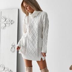 Women Sweater Dress Turtleneck Long-Sleeve Sexy Mini Knitted Dresses Female Casual Streetwear S White