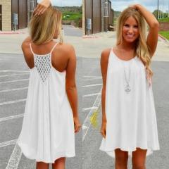 Women beach dress fluorescence female summer dress chiffon voile women dress summer women clothing S white