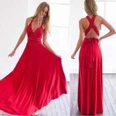 Sexy Women Multiway Wrap Convertible Boho Maxi Club Red Dress Bandage Long Dress Party Bridesmaids s color 01