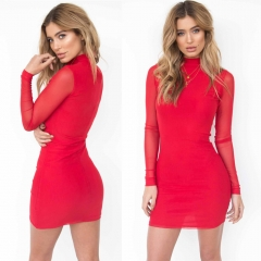 2018 Newest Women Dresses High Waist Dress Sexy Long Sleeve Slim Elastic Bodycon Party Dresses s red