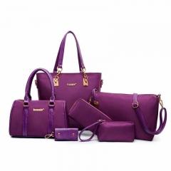 Women Handbags PU Leather +Nylon 5 Colors Women Shoulder Bag Women Big Volume Bag High Quality Bag purple 30mm*30mm*36mm