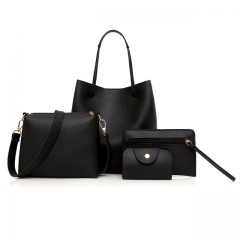 Women Bags 4 Pieces Leather Bag Vintage Big Capacity Beach Handbags Female Sholder Bag Sac Ladies black 25*24*17cm