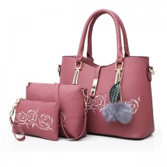 Fashion Women PU Leather Handbags Luxury Ladies Shoulder Bag Casual 3 Pieces Sets Tote Female Bags Pink 34mm*25mm*16mm