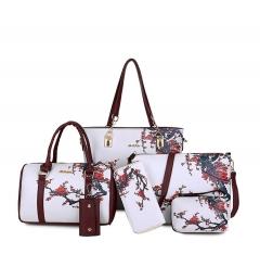 Luxury Women PU Leather Handbags Women Printed Bags Designer 6 Pieces Set Shoulder Crossbody Bags A 29mm*12mm*29mm