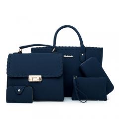 Women Bag 5 Piece Set Top-Handle Female Weave Handbag Fashion Shoulder Ladies Crossbody Bag Blue 30cm*15cm*25cm