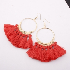 Tassel Earrings Women Big Earrings Bohemia Jewelry Trendy Cotton Rope Fringe Long Dangle Earrings D 14.3cm