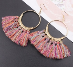 Tassel Earrings Women Big Earrings Bohemia Jewelry Trendy Cotton Rope Fringe Long Dangle Earrings G 14.3cm