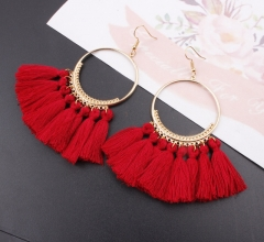 Tassel Earrings Women Big Earrings Bohemia Jewelry Trendy Cotton Rope Fringe Long Dangle Earrings L 14.3cm
