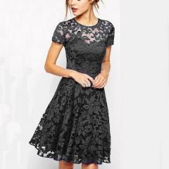 5XL Plus Size Fashion Women Elegant Sweet Hallow Out Lace Dress Sexy Party Princess Slim Dresses s black