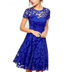 5XL Plus Size Fashion Women Elegant Sweet Hallow Out Lace Dress Sexy Party Princess Slim Dresses s blue
