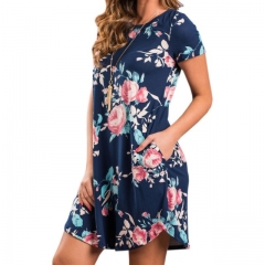 Summer O Neck Women Mini Dress Floral Print Short Sleeve Dresses Party Vestido s Bule A