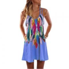 Fashion Boho Style Sexy Printed Women Clothing Casual Summer Beach Femme Robe Vestidos Dress s Blue