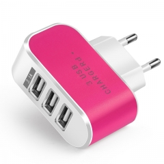 USB Charger 3 Ports 5V2A Travel USB Wall Power Adapter EU Charger For iPhone Xiaomi Samsung Huawei pink one size