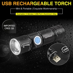 USB LED Flashlight Handy Rechargeable LED Torch Light Hunting Mini USB LED 3 Modes Zoomable Torch black (whitout battery) 5w