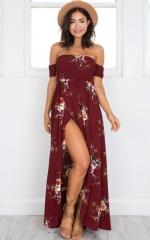 Boho long dress women Off shoulder beach summer dresses Floral print Vintage chiffon maxi dress s a