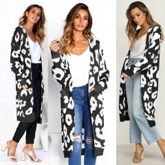 Fashion Kimono Knitted Cardigan Long Sleeve Poncho Sweaters Print irregular sexy lady warm Jackets A S
