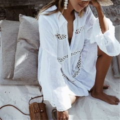 Sexy Women Beach Clothes Long Sleeve Turn-Down Collar White Floral Loose Cover Up Wear Swimwear white s