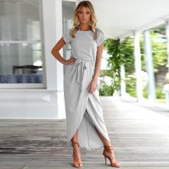 Sexy Women O-neck Short Sleeve Tunic Summer Beach Sun Casual Femme Vestidos Lady Clothing Clothes s gray