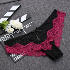 Comfortable Breathable Low-Rise Knicker Hollow Brief Ultra Thin Underwear Lace Pantie Lady Sleepwear a m